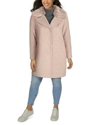 WOMEN Plus Size Faux-Fur-Collar Walker Coat, Created for Macy's