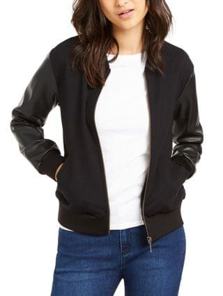 WOMEN Petite Faux Leather Sleeve Bomber Jacket