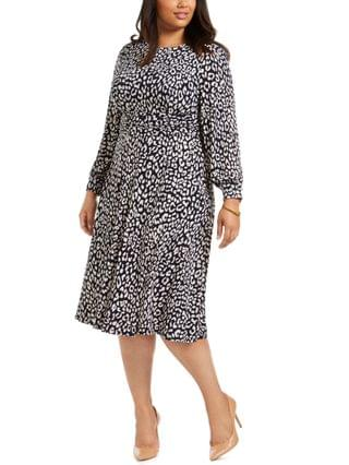WOMEN Plus Size Printed Long-Sleeve Dress