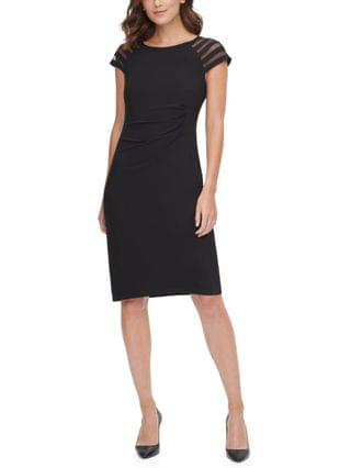 WOMEN Petite Illusion Cap-Sleeve Sheath Dress