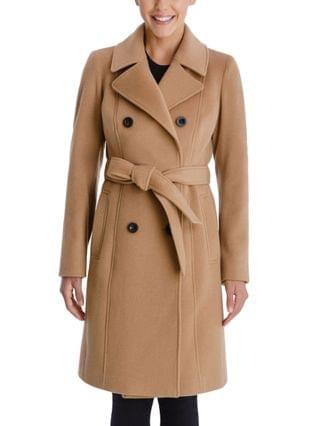 WOMEN Double-Breasted Belted Coat