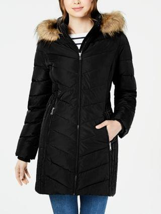 WOMEN Petite Faux-Fur Trim Hooded Water-Resistant Puffer Coat, Created for Macy's