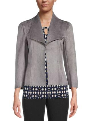 WOMEN Faux-Suede Open-Front Jacket