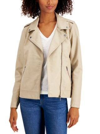 WOMEN Faux-Leather Moto Jacket, Created for Macy's