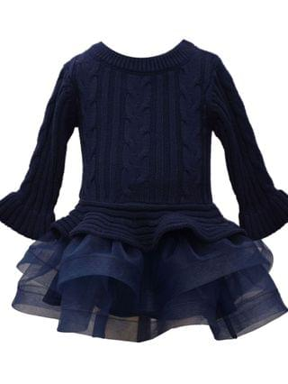 KIDS Toddler Girl Long Sleeved Cable Knit Sweater Dress With Full Layered Horsehair Skirt