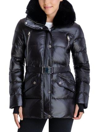 WOMEN Belted Faux-Fur-Trim Hooded Puffer Coat, Created for Macy's