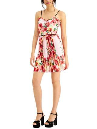 WOMEN Floral-Print Pleated Party Dress