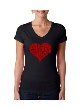 WOMEN Women's V-Neck T-Shirt with All You Need Is Love Word Art