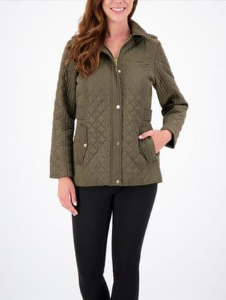 WOMEN Petite Hooded Water-Resistant Quilted Coat, Created for Macy's