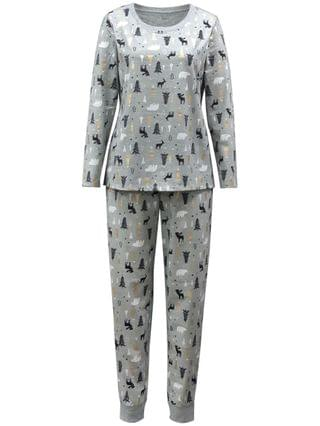 WOMEN Matching Plus Size Woodland-Print Family Pajama Set, Created for Macy's