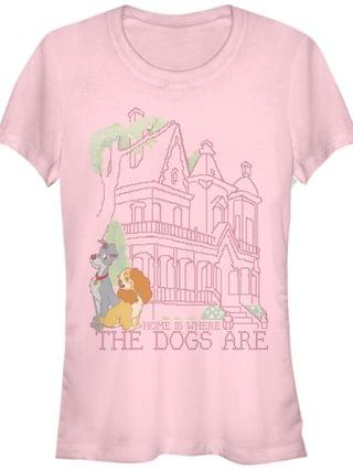 WOMEN Women's Lady and the Tramp Cross Stitch Home Short Sleeve T-shirt