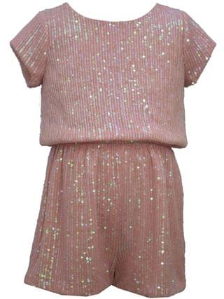 KIDS Big Girl Short Sleeved Sparkly Sequin Romper With Bow Back Detail.