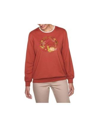 WOMEN Women's Misses Fall Wreath Embroidered Top