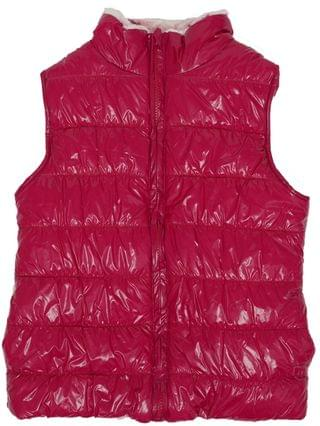 KIDS Big Girls All Over Print Shiny Reversible Vest