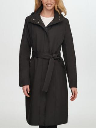 WOMEN Petite Hooded Belted Trench Coat