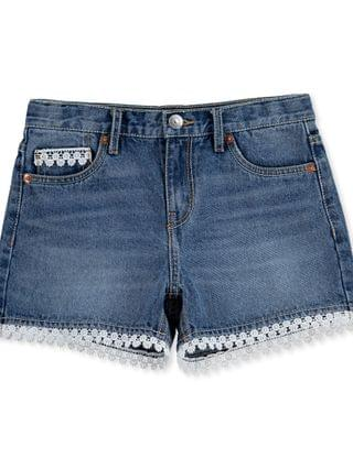 KIDS Big Girls Crochet Trim Cotton Denim Shorts