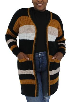 WOMEN Trendy Plus Size Striped Cardigan Sweater