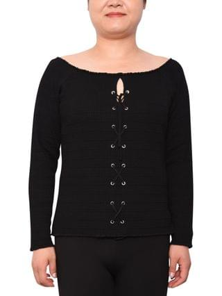 WOMEN Trendy Plus Size Lace-Up Sweater