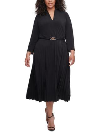 WOMEN Plus Size Belted Pleated-Skirt Dress