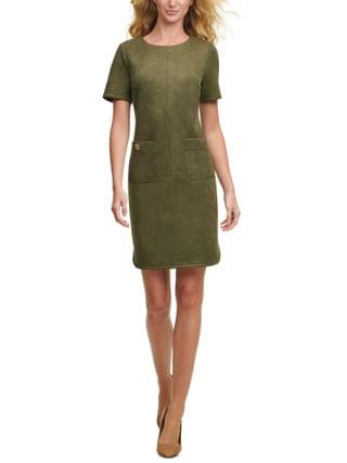 WOMEN Faux-Suede Pocket Dress