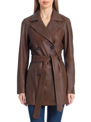 WOMEN Double-Breasted Leather Trench Coat