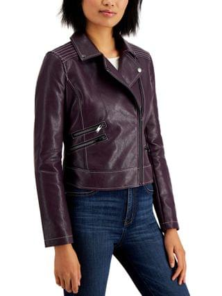 WOMEN Juniors' Faux-Leather Moto Jacket