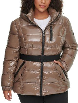 WOMEN Plus Size Hooded Belted Puffer Coat