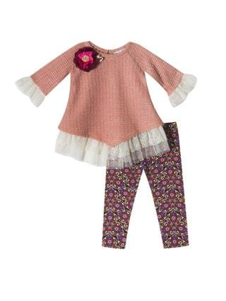 KIDS Toddler Girl Knit Sweater Set With Printed Leggings