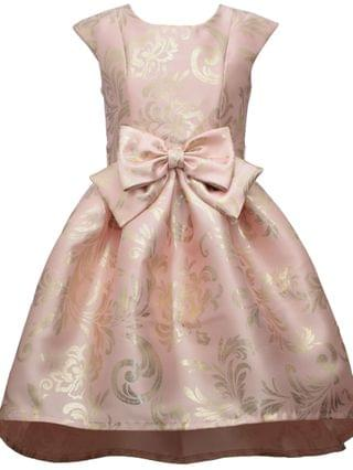 KIDS Big Girl Short Sleeve Foiled Mikado High Low Dress With Oversized Bow At Waist