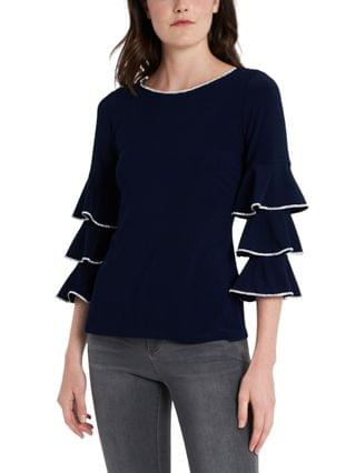 WOMEN Embellished Tiered-Sleeve Top
