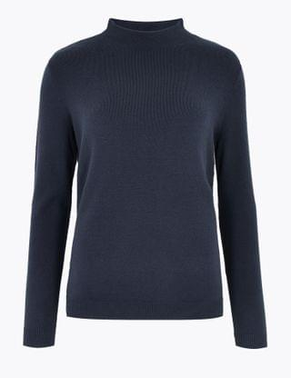 WOMEN Soft Touch Funnel Neck Relaxed Jumper