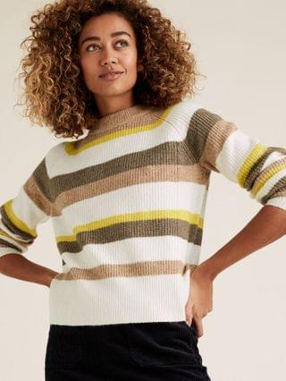 WOMEN Ribbed Striped Crew Neck Jumper