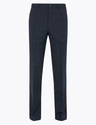 MEN Regular Fit Wool Checked Trousers