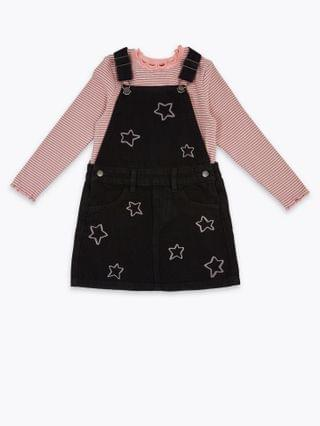 KIDS 2 Piece Star Embroidered Pinny Outfit (2-7 Yrs)