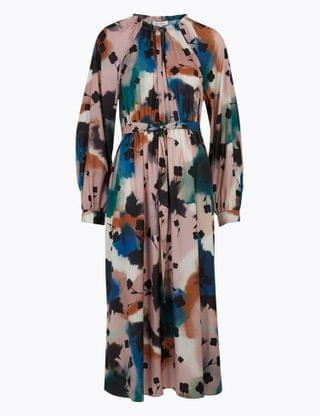 WOMEN Abstract Floral Midaxi Waisted Dress