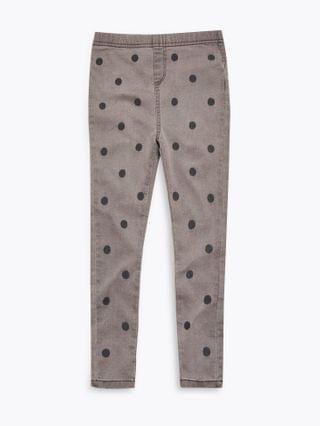 KIDS Cotton Embroidered Spotted Jeggings (2-7 Yrs)