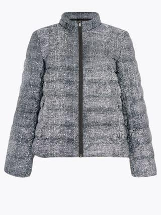 WOMEN Feather & Down Printed Puffer Jacket