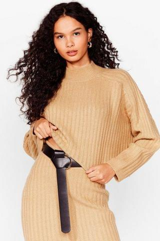 WOMEN KNITTED CO-ORD WIDE RIBBED JUMPER