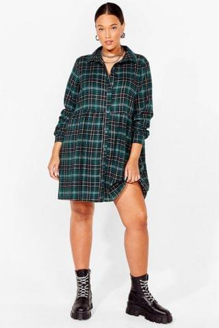 WOMEN PLUS SIZE GREEN CHECK SMOCK DRESS