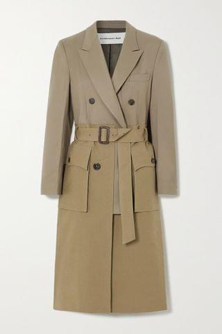 WOMEN ANDERSSON BELL Belted layered cotton-twill and wool-blend trench coat