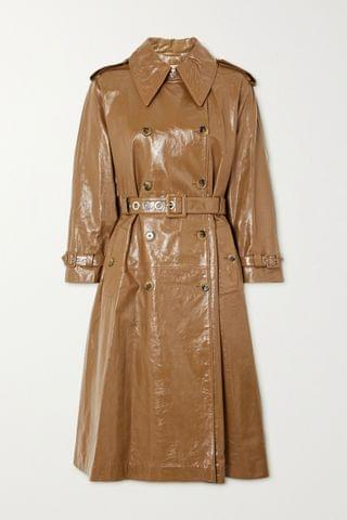 WOMEN ALEXACHUNG Belted double-breasted crinkled glossed-leather trench coat