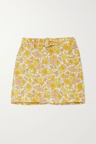 WOMEN FAITHFULL THE BRAND + NET SUSTAIN Celia belted layered floral-print linen shorts