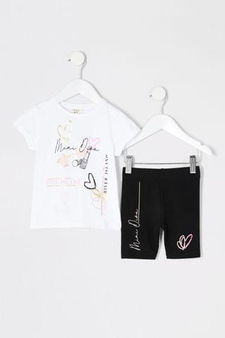 KIDS River Island White All Over Print Graphic T-Shirt And Shorts Set