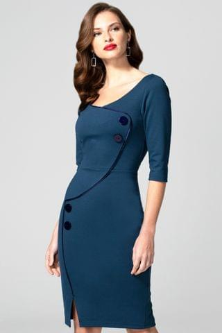 WOMEN Hot Squash Blue Chelsea Dress with Buttons