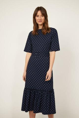WOMEN Warehouse Blue Pique Spot Midi Tiered Dress
