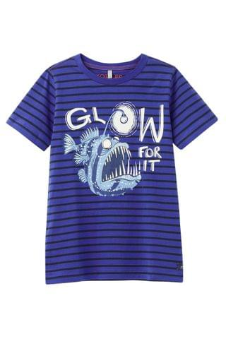 KIDS Joules Blue Stripe Fish Ray Glow In The Dark Short Sleeve T-Shirt