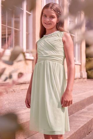 KIDS Lipsy Girl Embellished Lace Pleated Occasion Dress