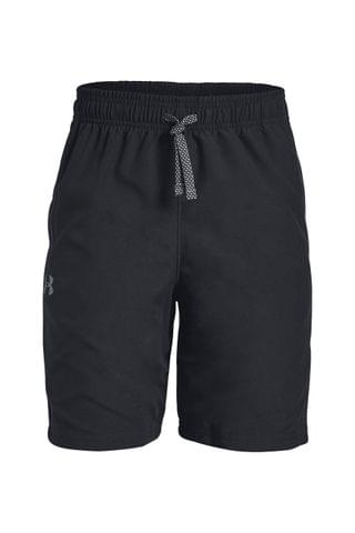 KIDS Under Armour Boys Black Woven Graphic Shorts