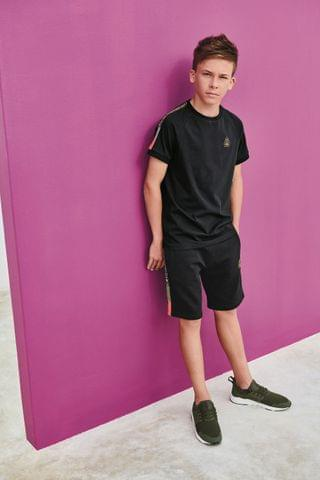 KIDS Black Short Sleeve Taped T-Shirt (3-16yrs)