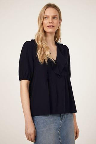 WOMEN Warehouse Blue Pintuck V-Neck Ruffle Top